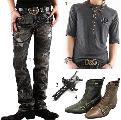 Punk rock style clothing men